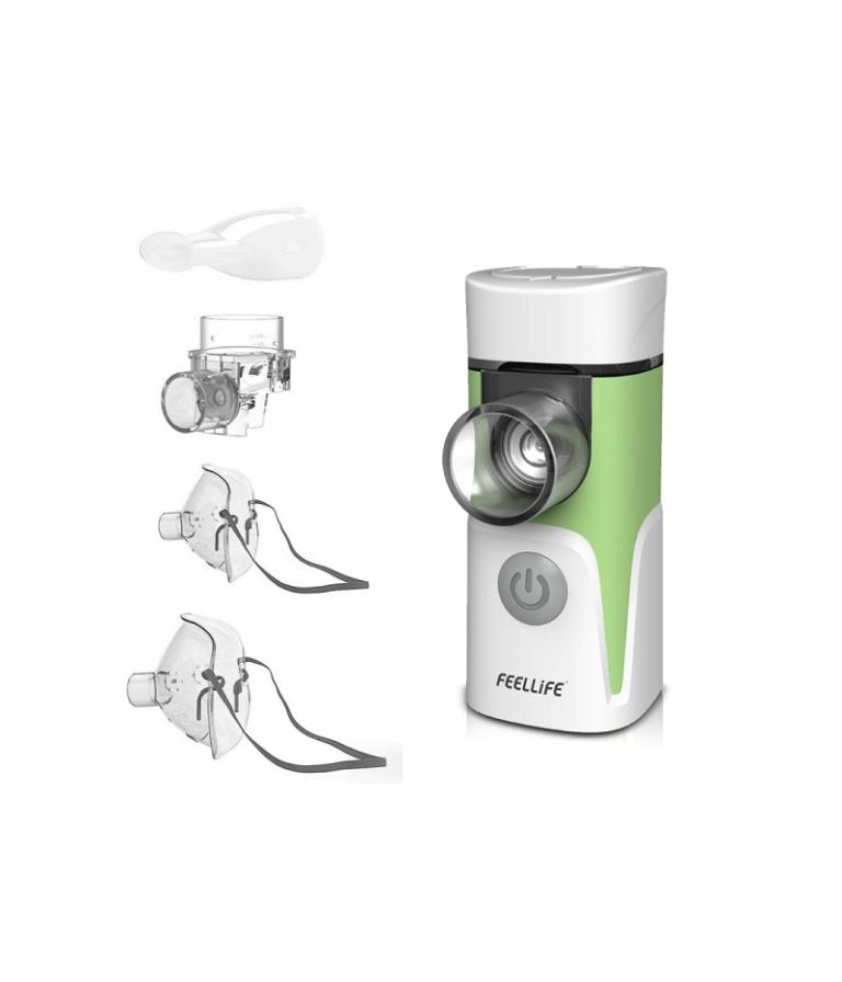 Feellife inhalaator nebulisaator Air Pro 4 roheline võrktehnoloogia maskid huulik ravimkamber